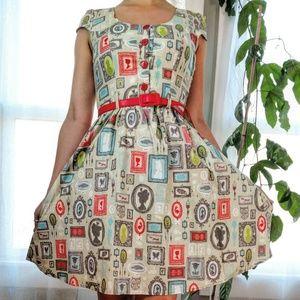 Retrolicious Modcloth Novelty Vintage Pinup Dress